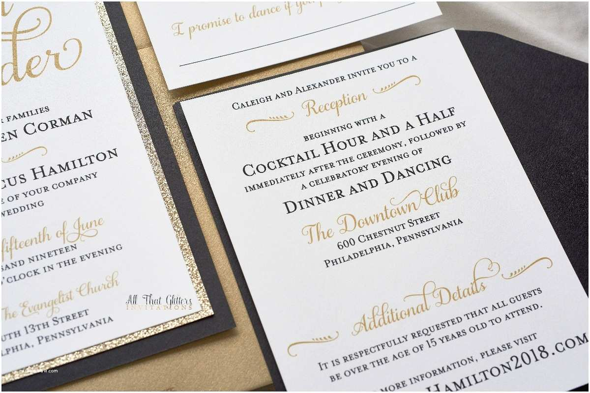 caleigh formal wedding invitation with glitter