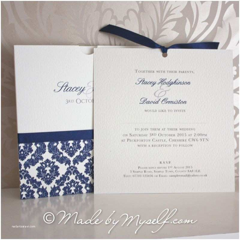 Wedding Invitations with Photo Insert Damask Pocket Style Wedding Invitation