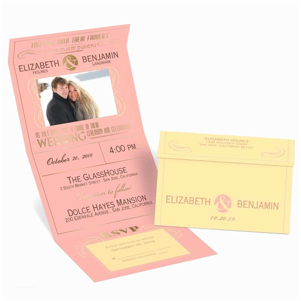 Wedding Invitations with Pictures Modern Romance Foil Seal and Send Invitation