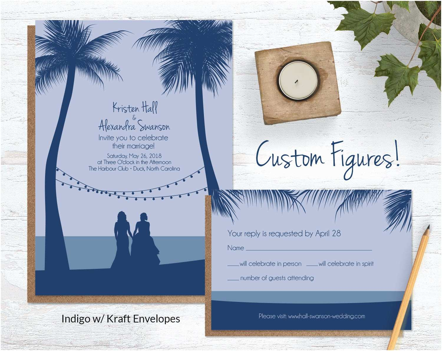 Wedding Invitations With Pictures Of Couple Beach Wedding Invitations With Custom Silhouettes