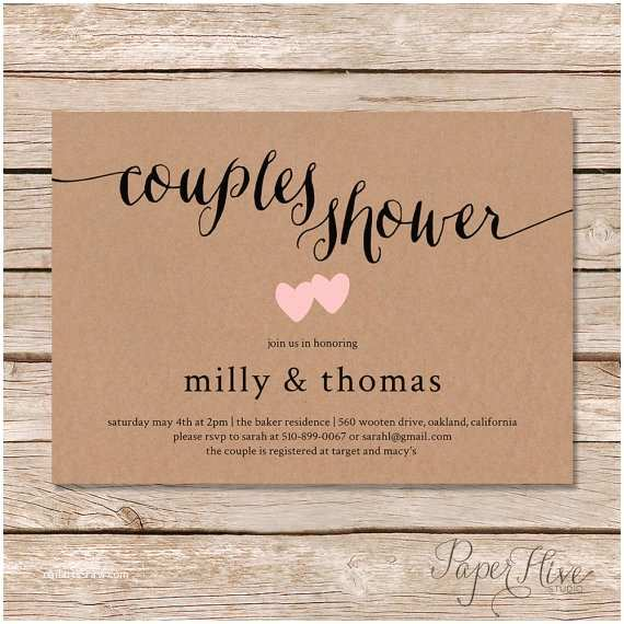 Invitations With Pictures Of Couple Rustic Couples Shower Invitation Kraft Couples