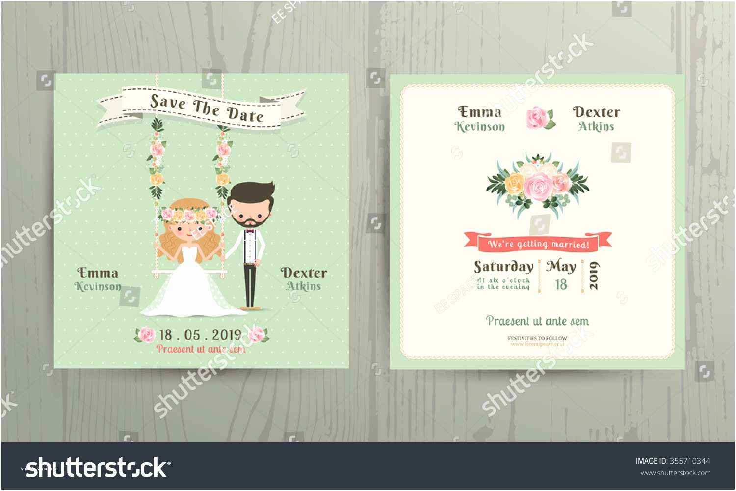 Wedding Invitations with Pictures Of Couple Rustic Wedding Cartoon Bride Groom Couple Stock Vector
