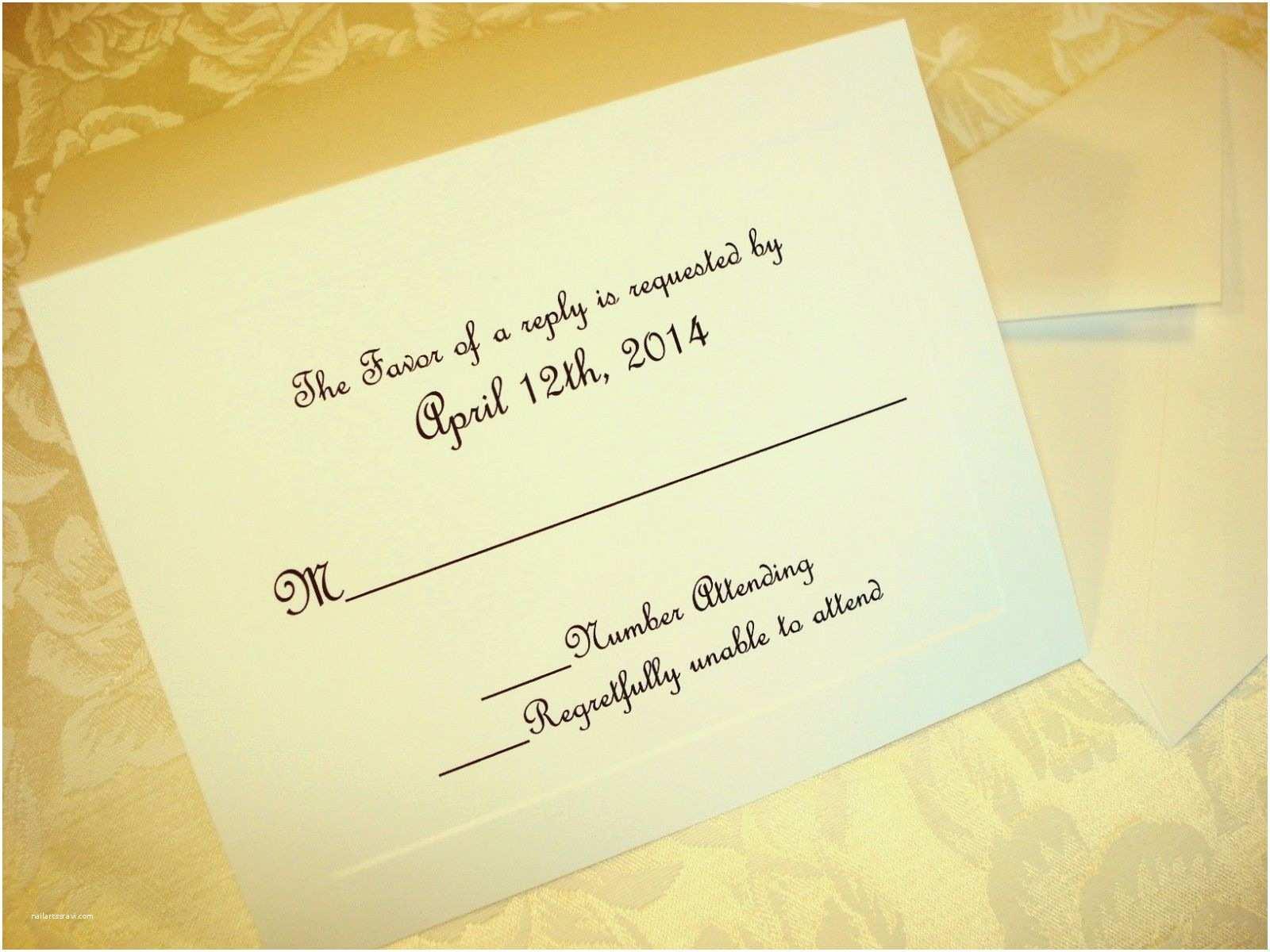 Wedding Invitations with Response Cards and Envelopes 50 Custom Printed Wedding Bridal Invitation Rsvp Response