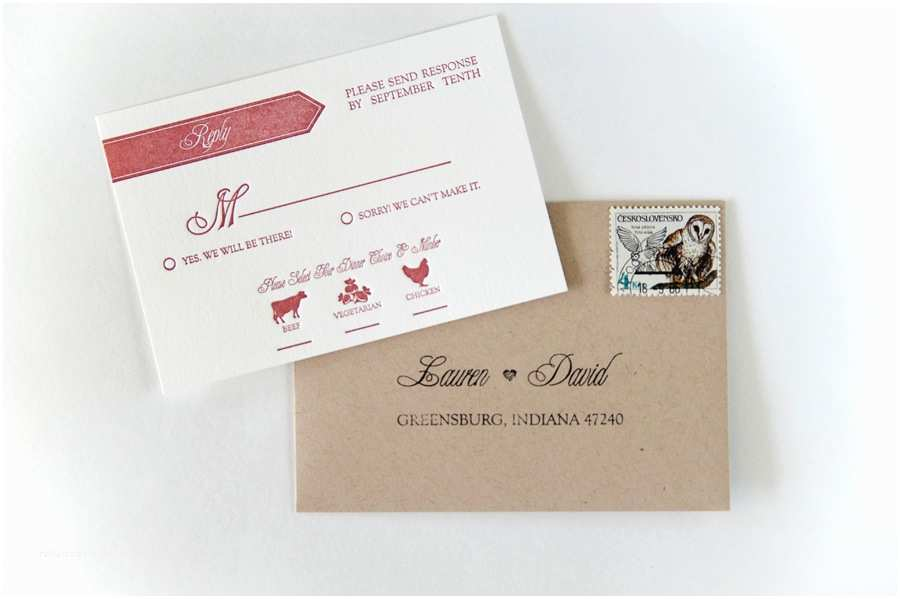 Invitations With Response Cards And Envelopes Lauren Dave S Modern Red And White Letterpress