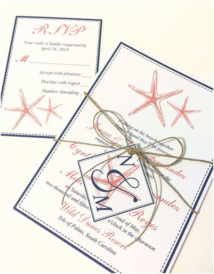 Wedding Invitations with Response Cards and Envelopes Starfish Wedding Invitation and Response Card Beach