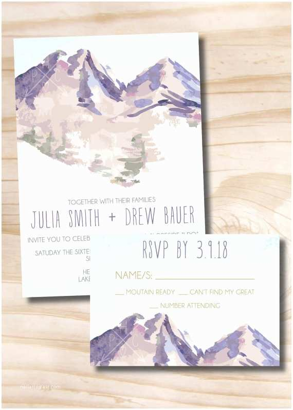 Wedding Invitations With Response S And Envelopes Watercolor Mountain Wedding Invitation Response