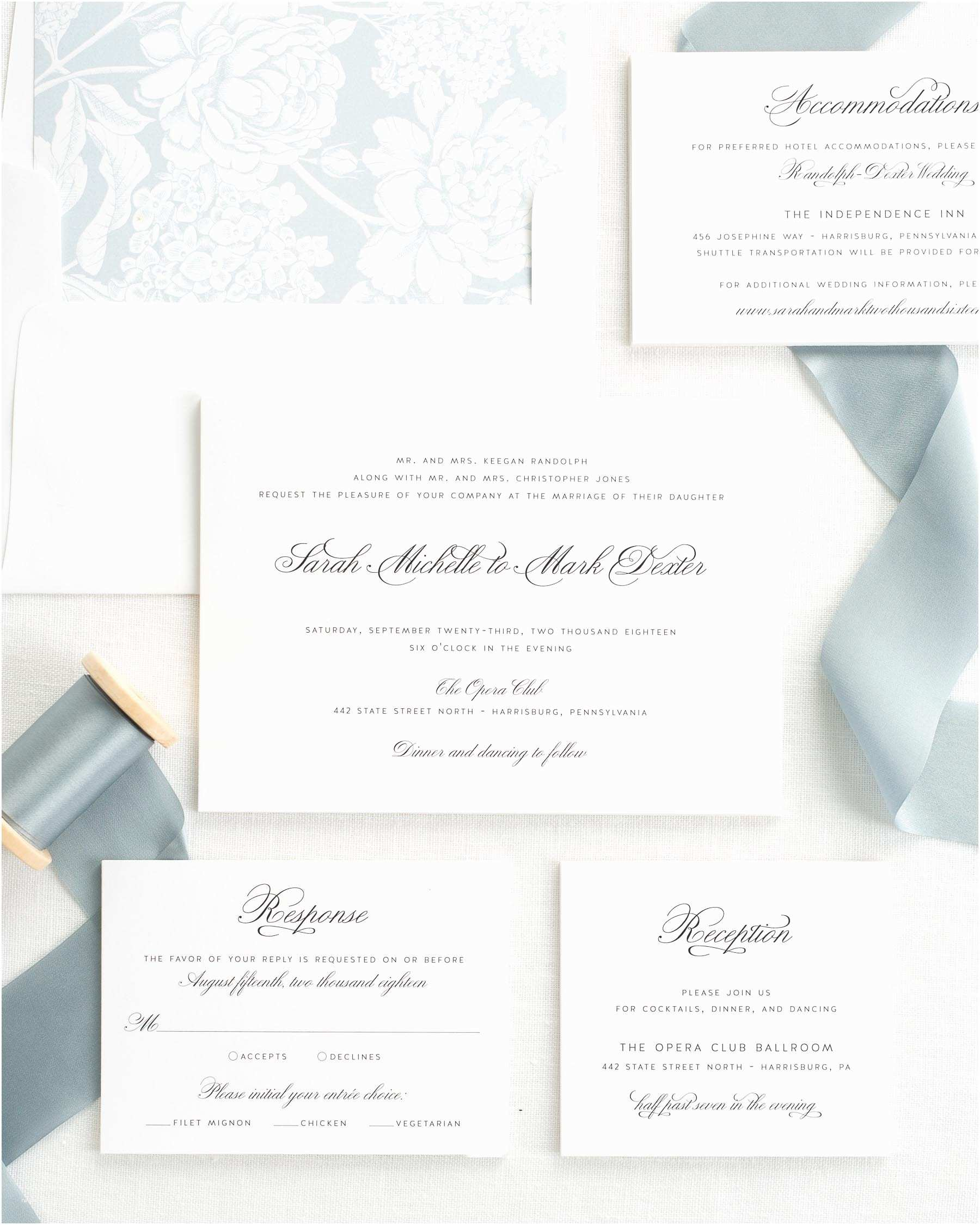 1940s ribbon wedding invitations