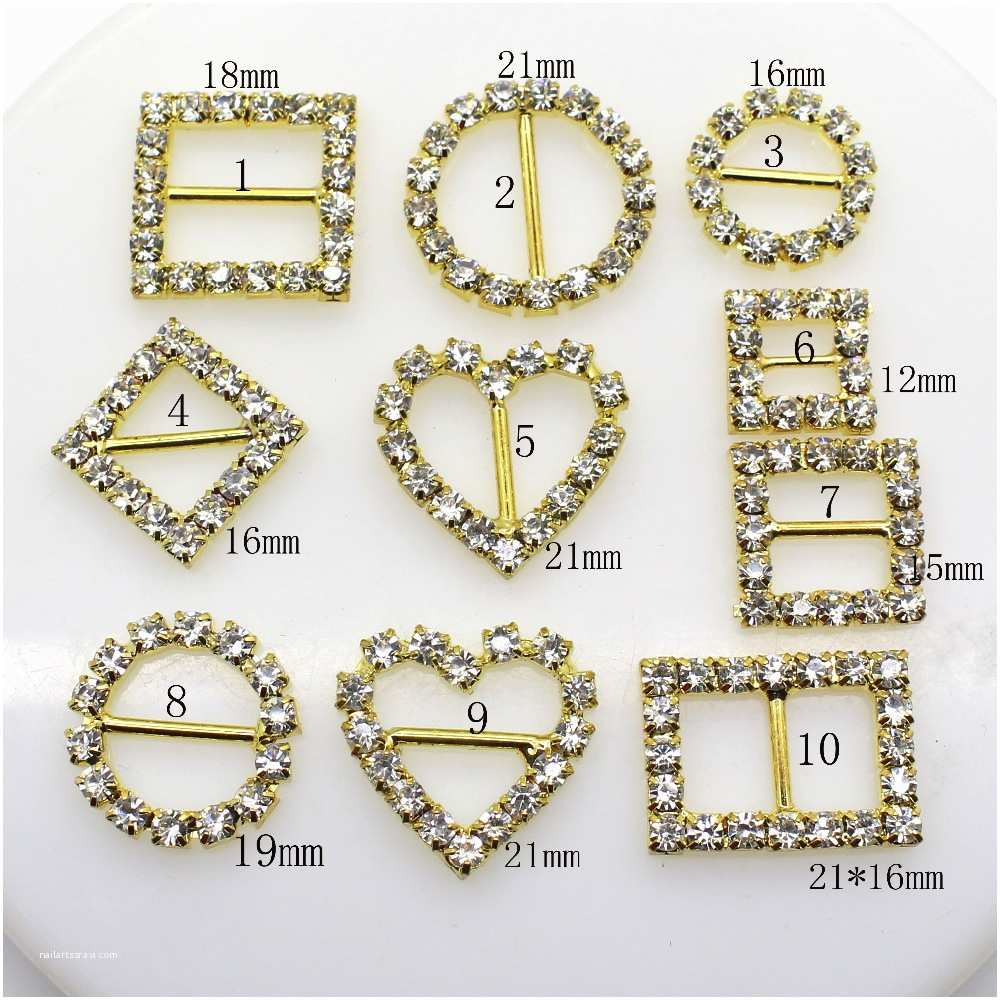 Wedding S With Ribbon And Rhinestones 10pcs Heart Buttons Crystal Rhinestone Buckle
