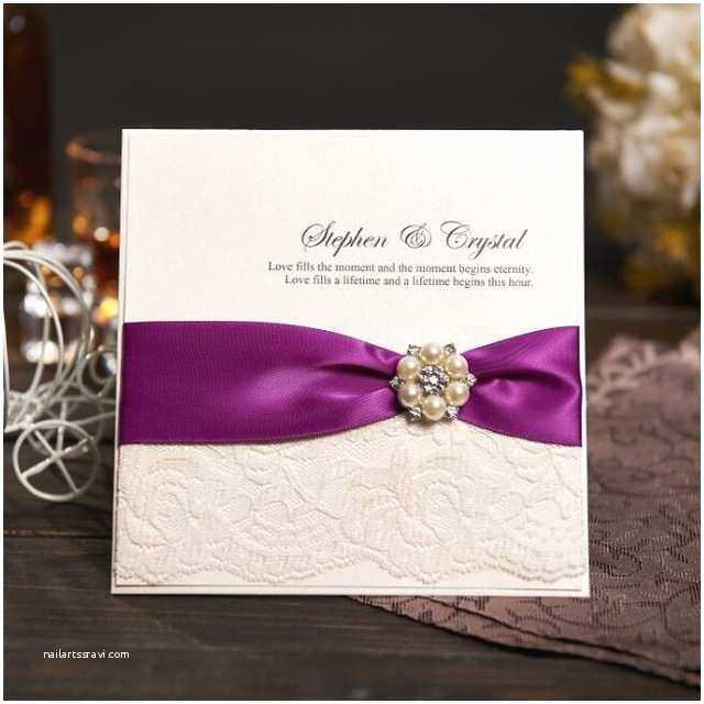 Wedding Invitations with Ribbon and Rhinestones Aliexpress Buy Personalized Wedding Invitations