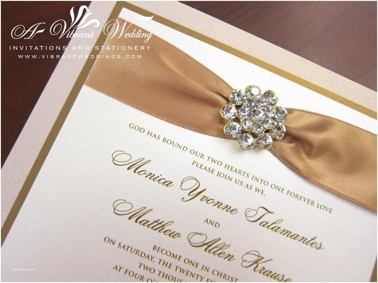 Wedding Invitations with Ribbon and Rhinestones Champagne and Gold Box Wedding Invitation with Rhinestone