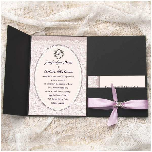 Wedding Invitations with Ribbon and Rhinestones Exquisite Rhinestone Buckle Pale Lilac Satin Ribbon Pocket