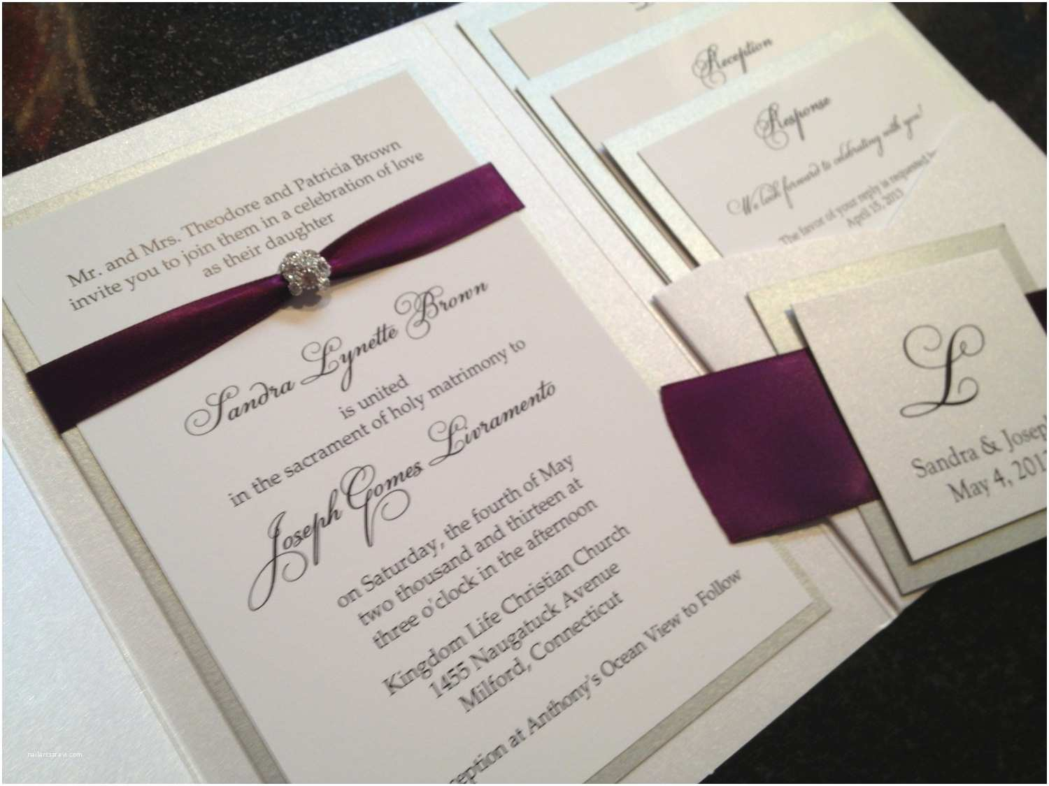 Wedding Invitations with Ribbon and Rhinestones Glamourous Pocket Wedding Invitation In Eggplant and Gold