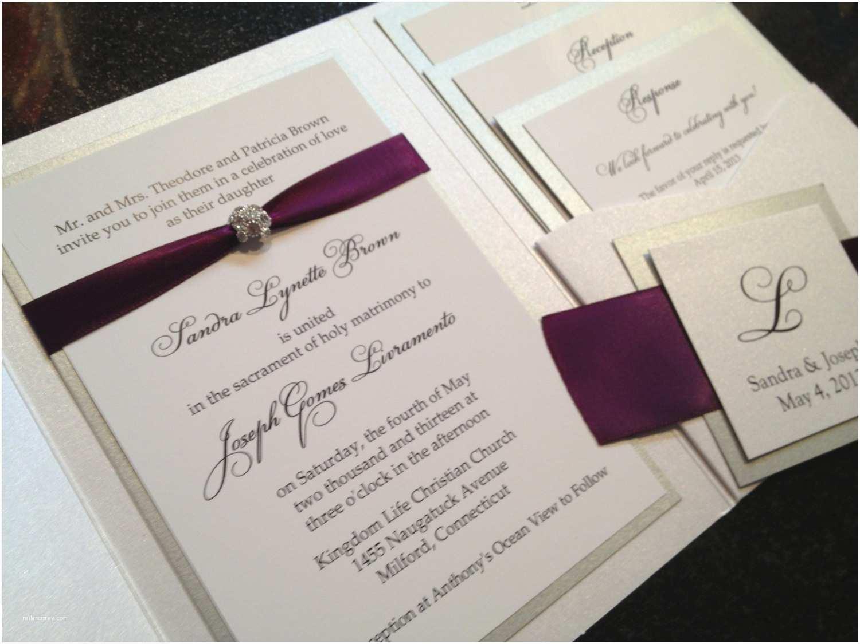 Wedding Invitations With Ribbon And Rhinestones Glamourous Pocket Wedding Invitation In Eggplant And
