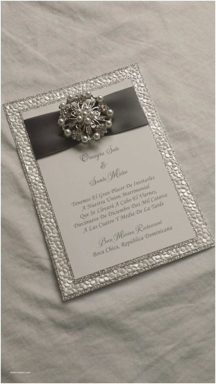 Wedding Invitations with Ribbon and Rhinestones Glitter Wedding Invitation Bling Wedding Invite Triple