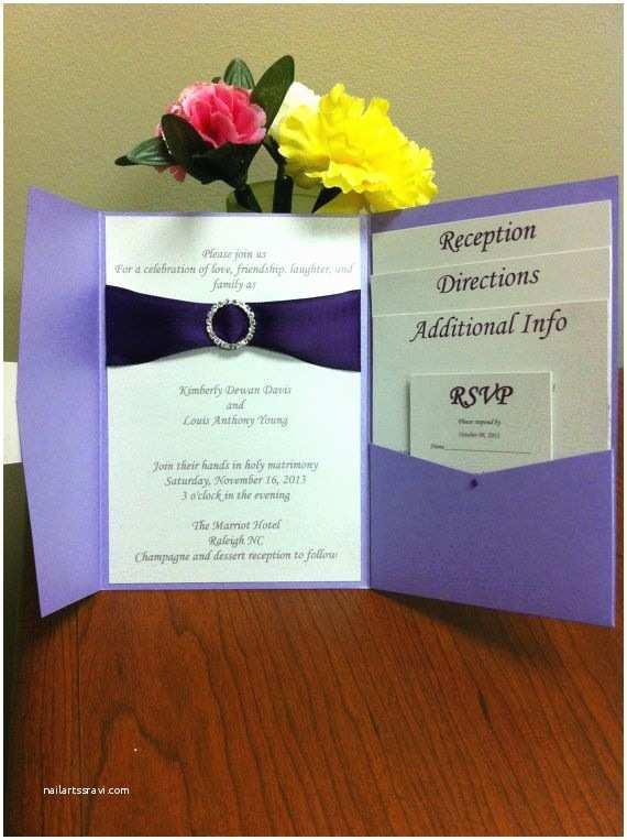 Wedding Invitations With Ribbon And S Handmade Pocket Fold Wedding Invitation With