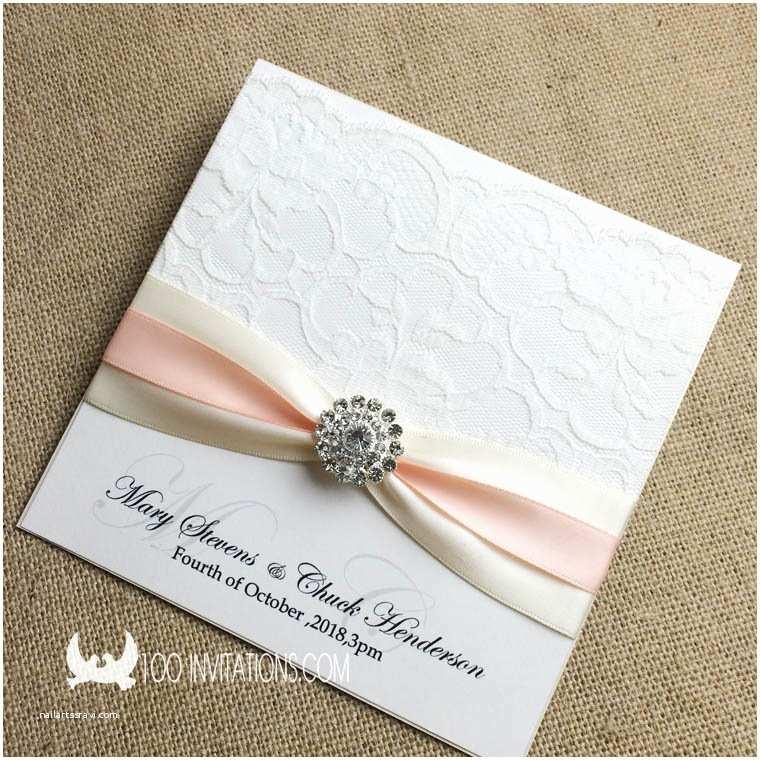 Wedding Invitations With Ribbon And Rhinestones Lace Wedding Invitations Free