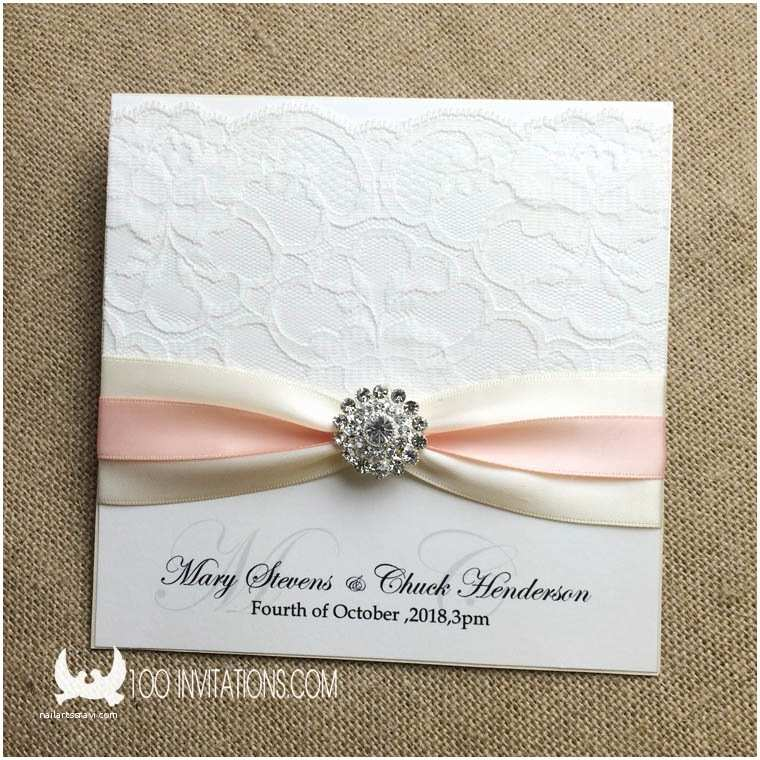 Wedding Invitations with Ribbon and Rhinestones Lace Wedding Invitations Free Shipping