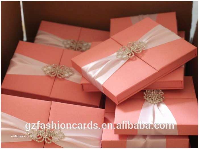 Wedding Invitations with Ribbon and Rhinestones Luxury Ribbon and Rhinestone Buckle Silk Box Wedding