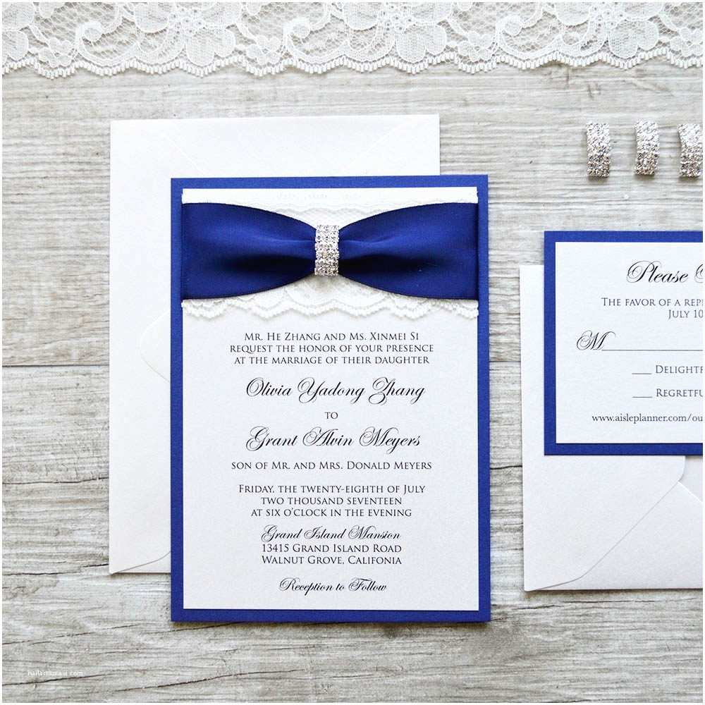 Wedding Invitations with Ribbon and Rhinestones Olivia Ivory Lace Wedding Invitation with Royal Navy