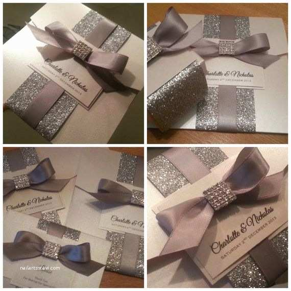 Wedding Invitations With Ribbon And Rhinestones Ribbon And Rhinestone Pocket Invitation