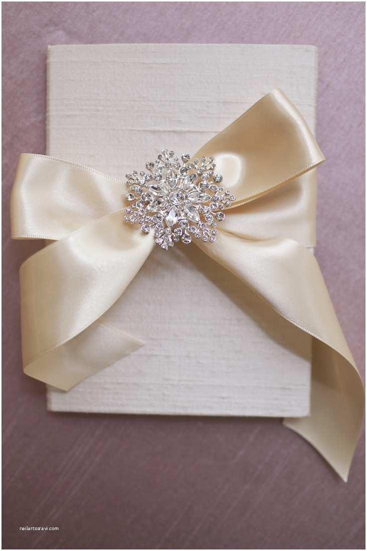 Wedding Invitations with Ribbon and Rhinestones Silk Folio Custom Wedding Invitation with Satin Ribbon