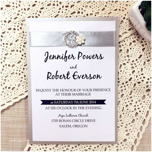 Wedding Invitations with Ribbon and Rhinestones Traditional Silver Ribbon Pearl Rhinestone Buckle Layered