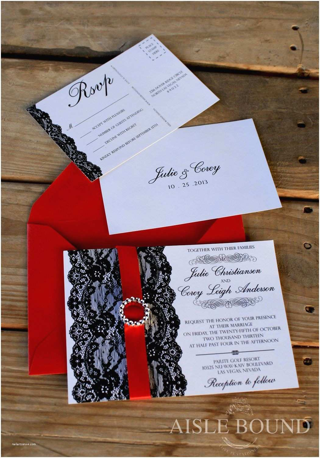 Wedding Invitations with Ribbon and Rhinestones Vintage Hollywood • Wedding Invitation • Metallic Red