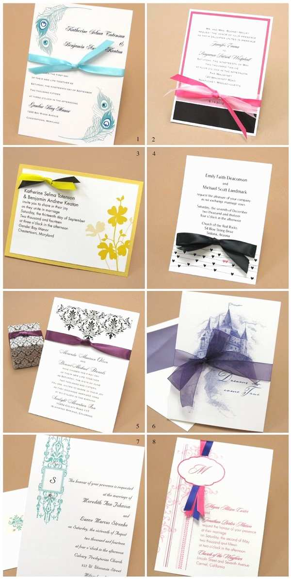 Wedding Invitations with Ribbon and Rhinestones Wedding Invitation Ribbon Ideas