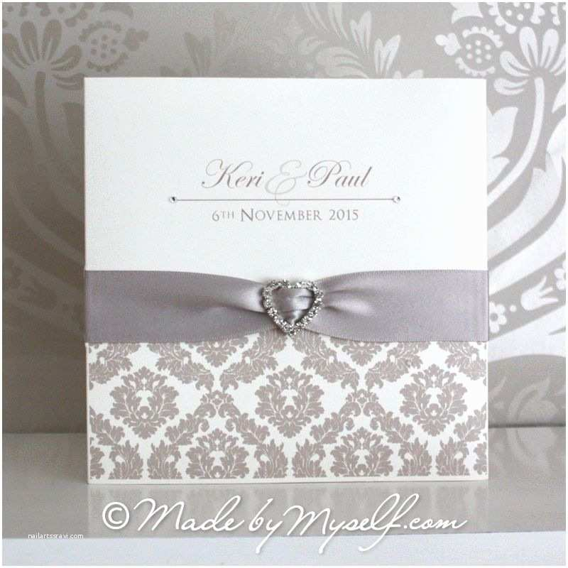Wedding Invitations with Ribbon and Rhinestones Wedding Invitations with Ribbon
