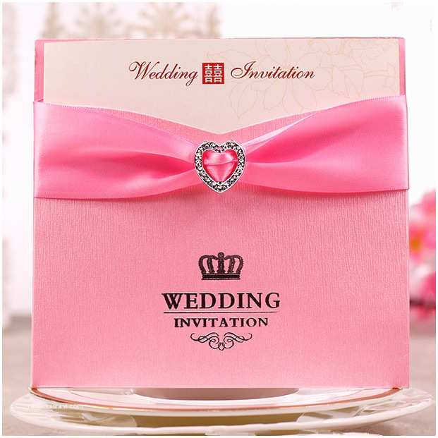 Wedding Invitations with Ribbon and Rhinestones wholesale Color Pink Red Wedding Invitation Card with