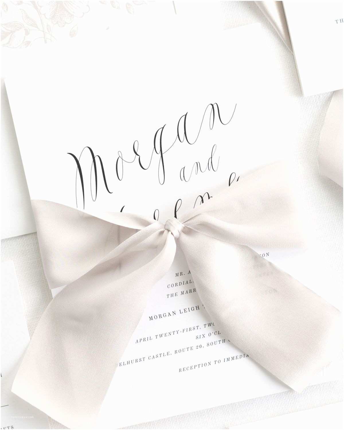 Wedding Invitations with Ribbon Ethereal Calligraphy Ribbon Wedding Invitations Ribbon