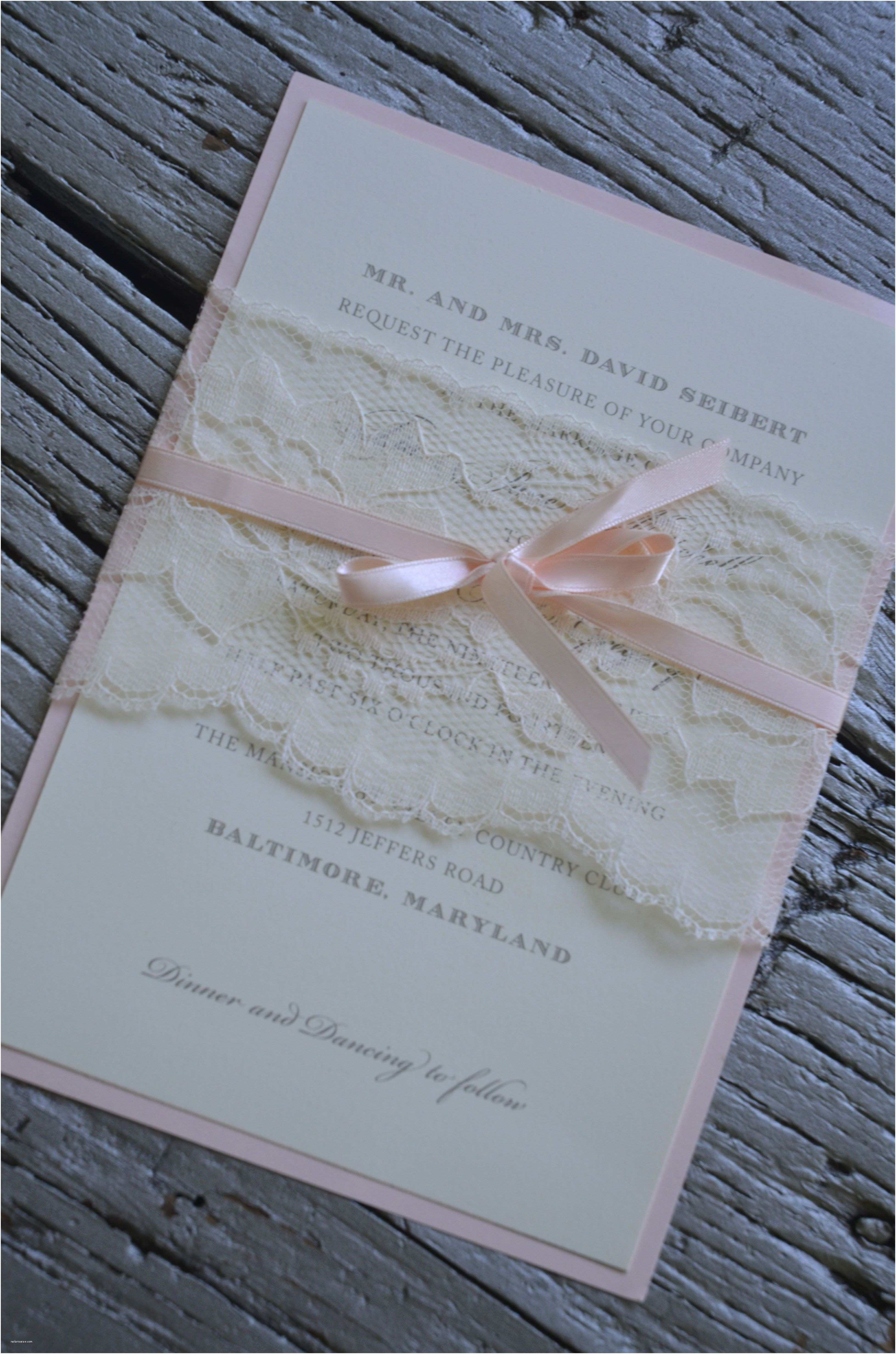 Wedding Invitations with Ribbon Lace Belly Band Around Wedding Invitation with Satin