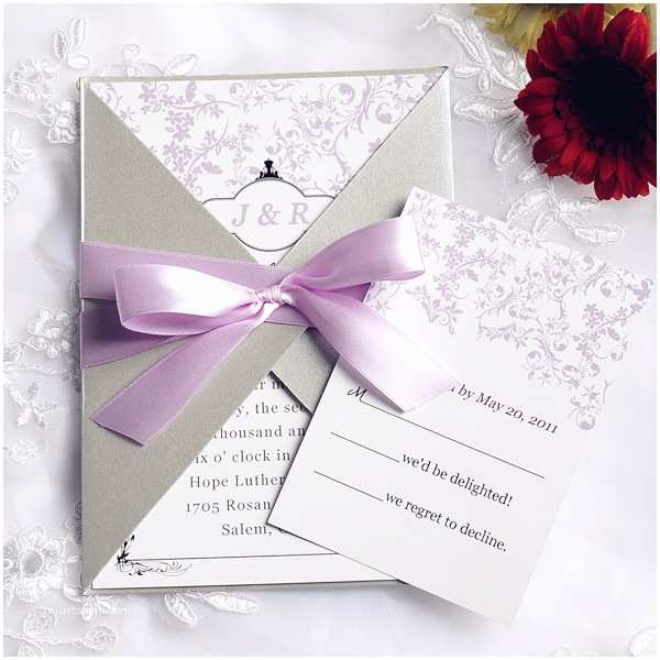 Wedding Invitations with Ribbon Pink and Gray Pocket Ribbon Elegant Wedding Invitations
