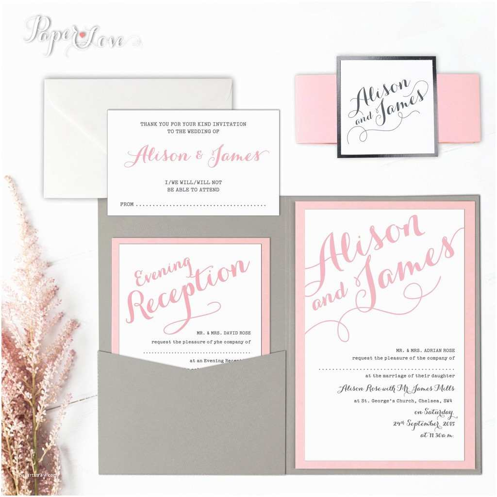 Wedding Invitations with Rsvp and Reception Cards Bespoke Personalised Pocket Wedding Day Invitation