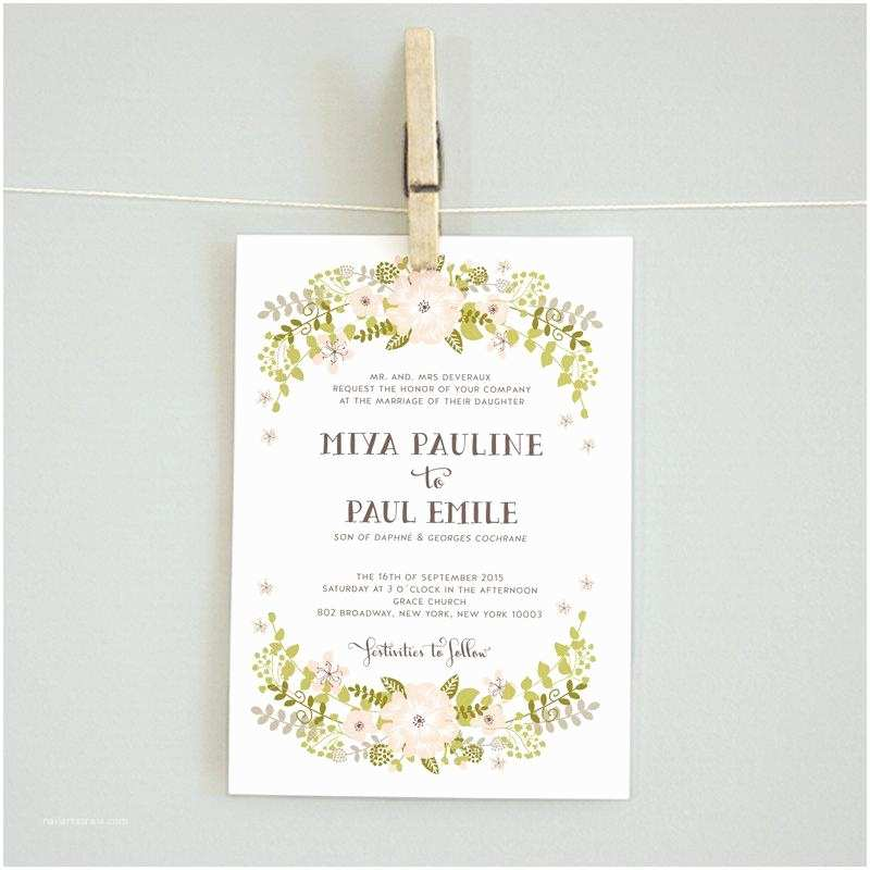 Wedding Invitations with Rsvp and Reception Cards Floral Wreath Printable Diy Wedding Invitation Suite