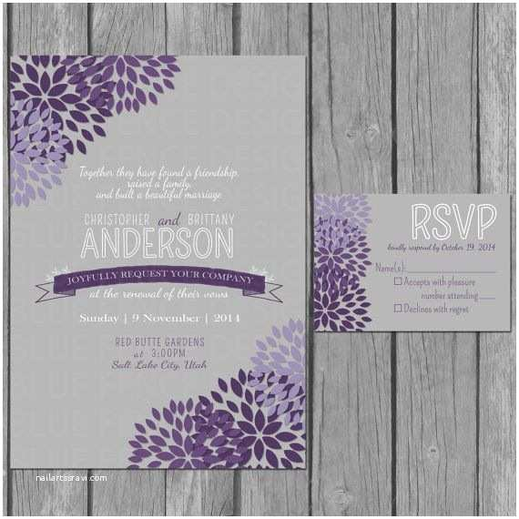 Wedding Invitations with Rsvp and Reception Cards Flower Wedding Invitation Modern Vow Renewal Reception