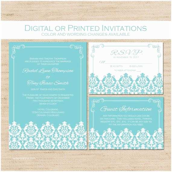 Wedding Invitations with Rsvp and Reception Cards formal Wedding Invitation Blue and White Damask Simple