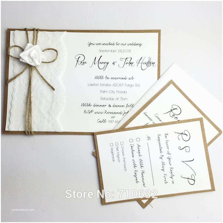 Wedding Invitations with Rsvp and Reception Cards Handmade Creative Rustic Lace Wedding Invitations A Set