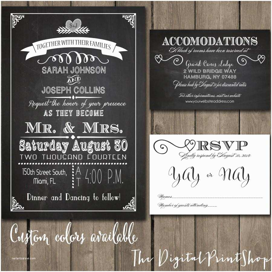 Wedding Invitations with Rsvp and Reception Cards Rustic Chic Wedding Reception Invitation Chalkboard