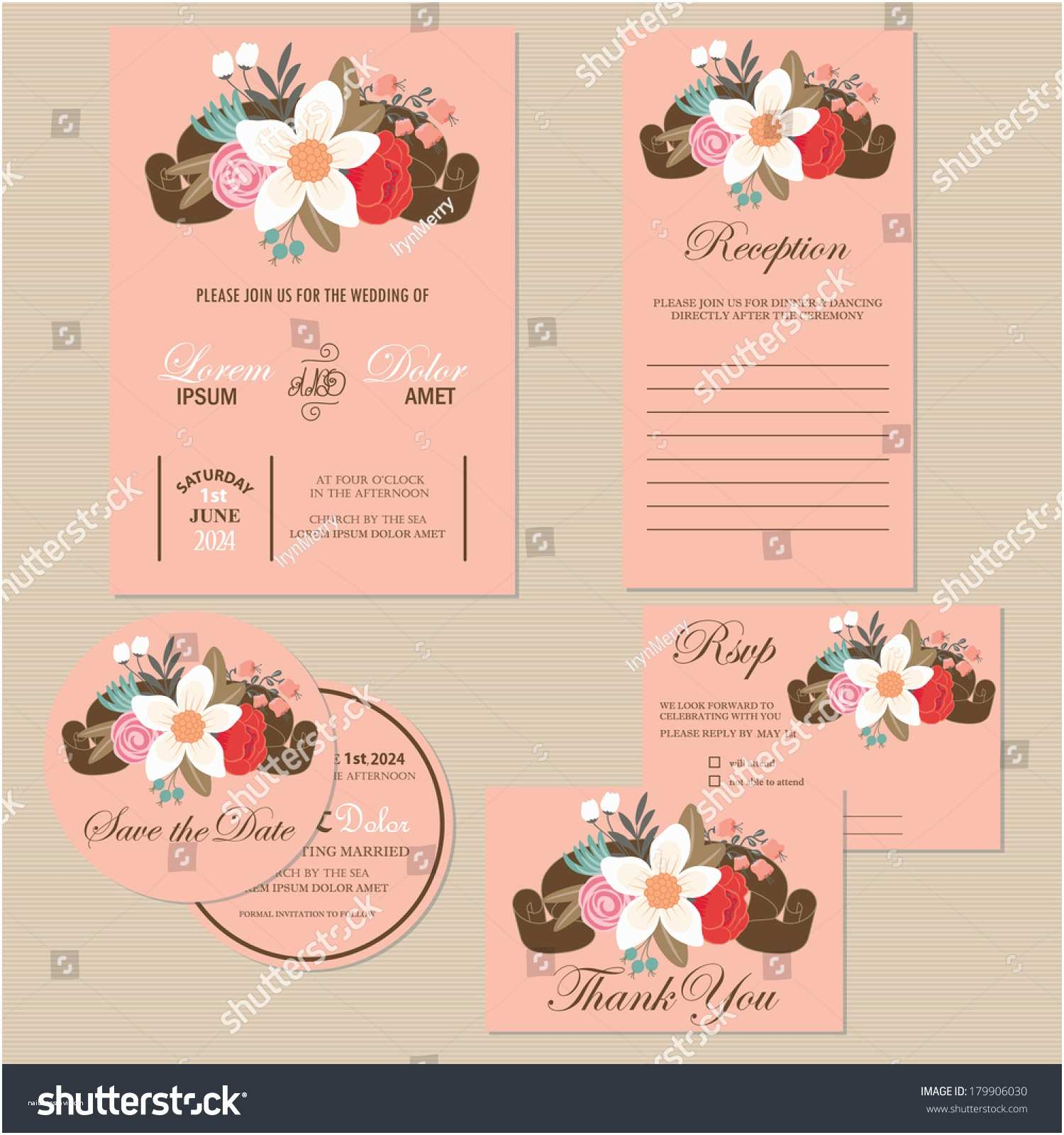 Wedding Invitations with Rsvp and Reception Cards Set Wedding Invitation Cards Invitation Thank You