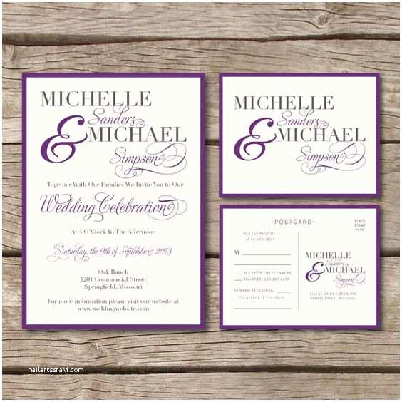 Wedding Vitations With Rsvp And Reception Cards Simple & Elegant Wedding Vitation & Rsvp Postcard