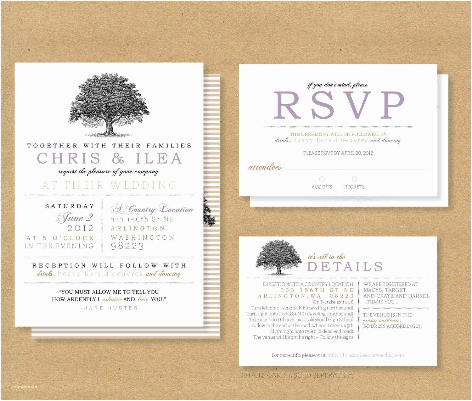 Wedding Invitations With  And Reception Cards Wedding Invitations