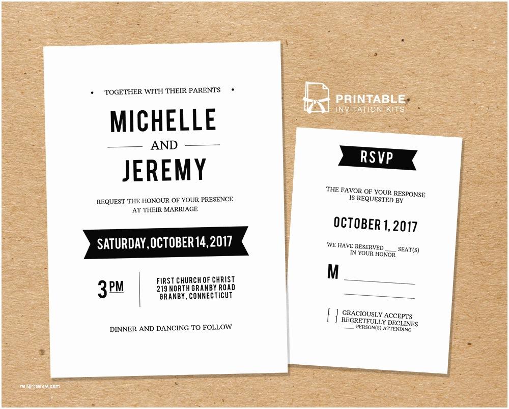 Wedding Invitations with Rsvp Cards Diy Free Pdf Printable Wedding Invitation and Rsvp