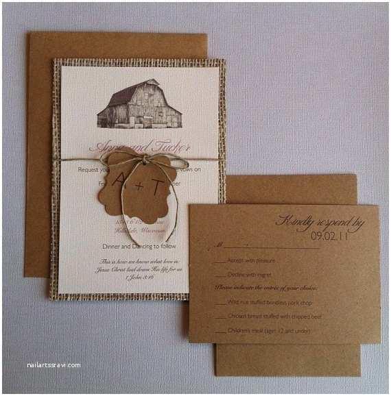 Wedding Invitations with Rsvp Cards Included Items Similar to Rustic Barn Burlap Wedding Invitations