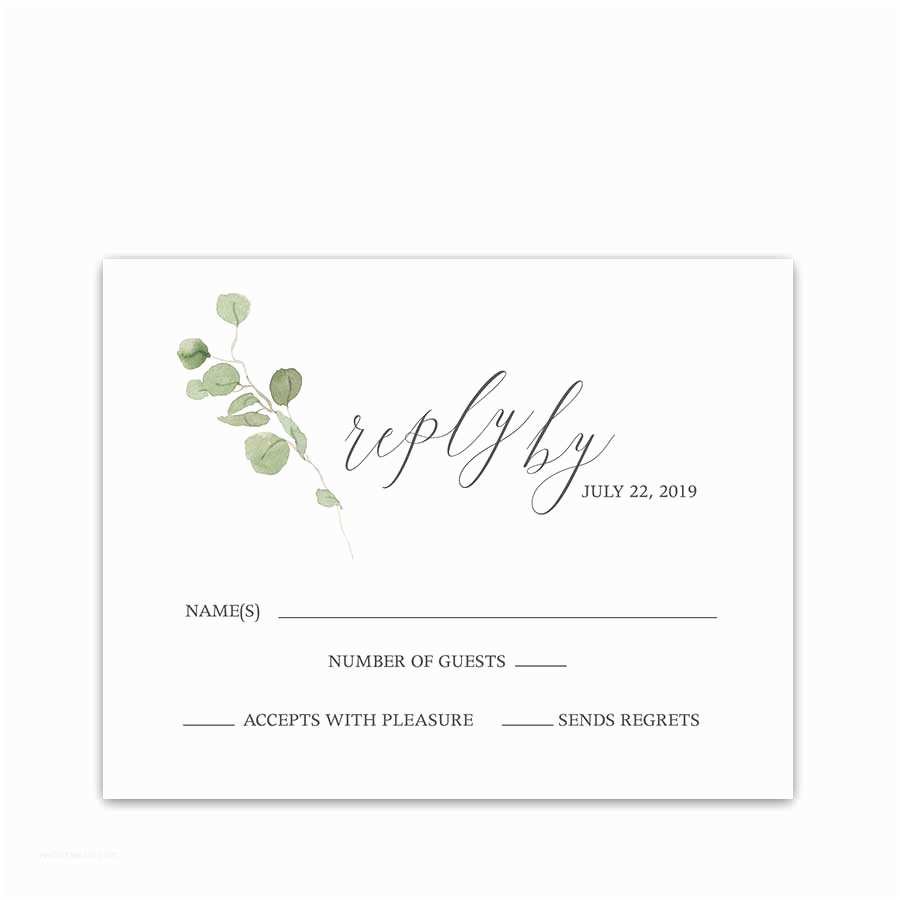 Wedding Invitations with Rsvp Cards Save the Date Postcards Calligraphy Watercolor Eucalyptus