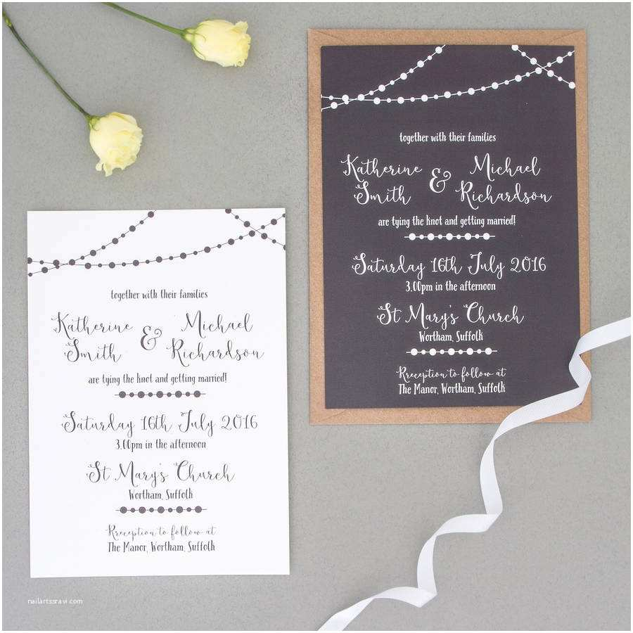 Wedding Invitations with Rsvp Fairy Light Wedding Invitation and Rsvp by the Two