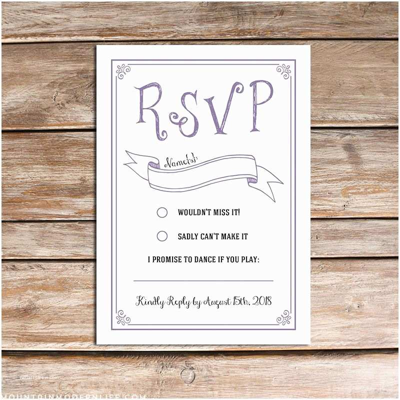 Wedding Invitations with Rsvp Postcard Printable Lavender Invitation Set