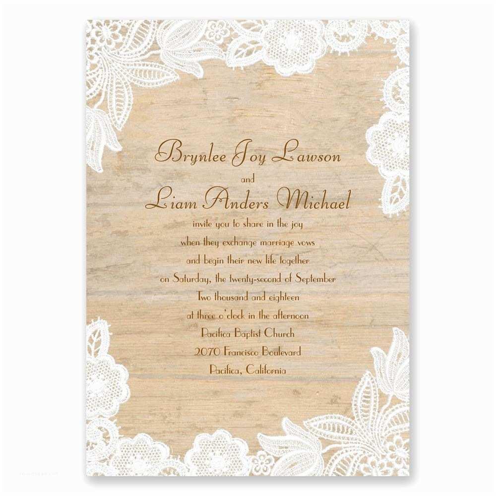 Wedding Invitations Wood and Lace Invitation