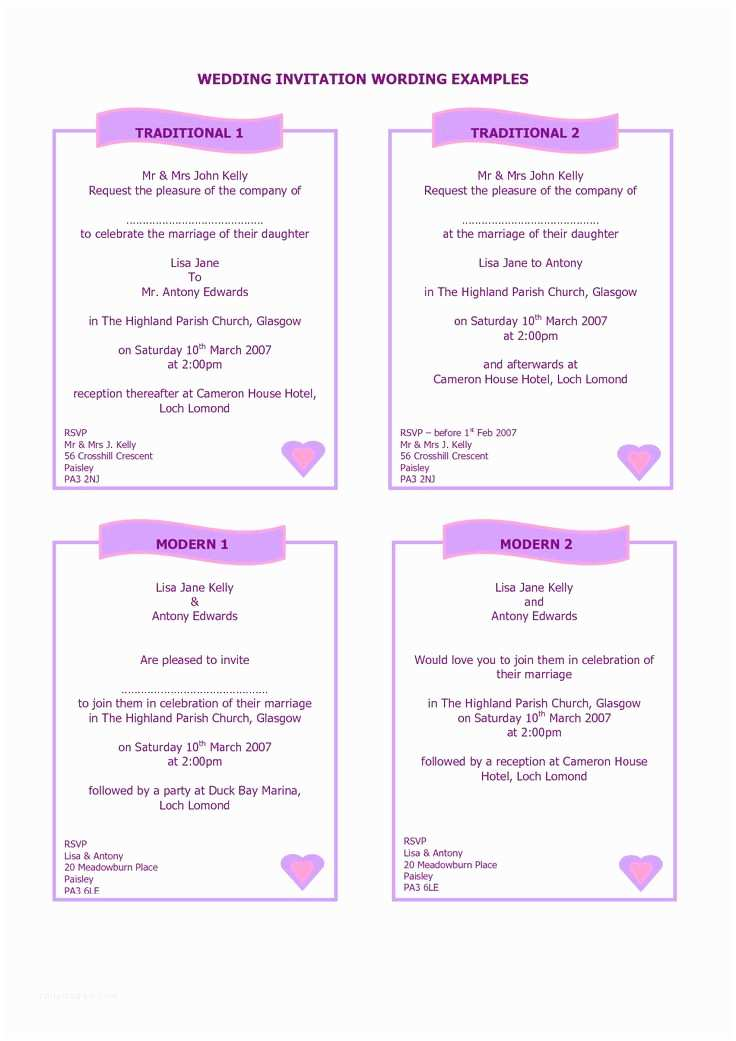 Wedding Invitations Wording Guide to Wedding Invitations Messages