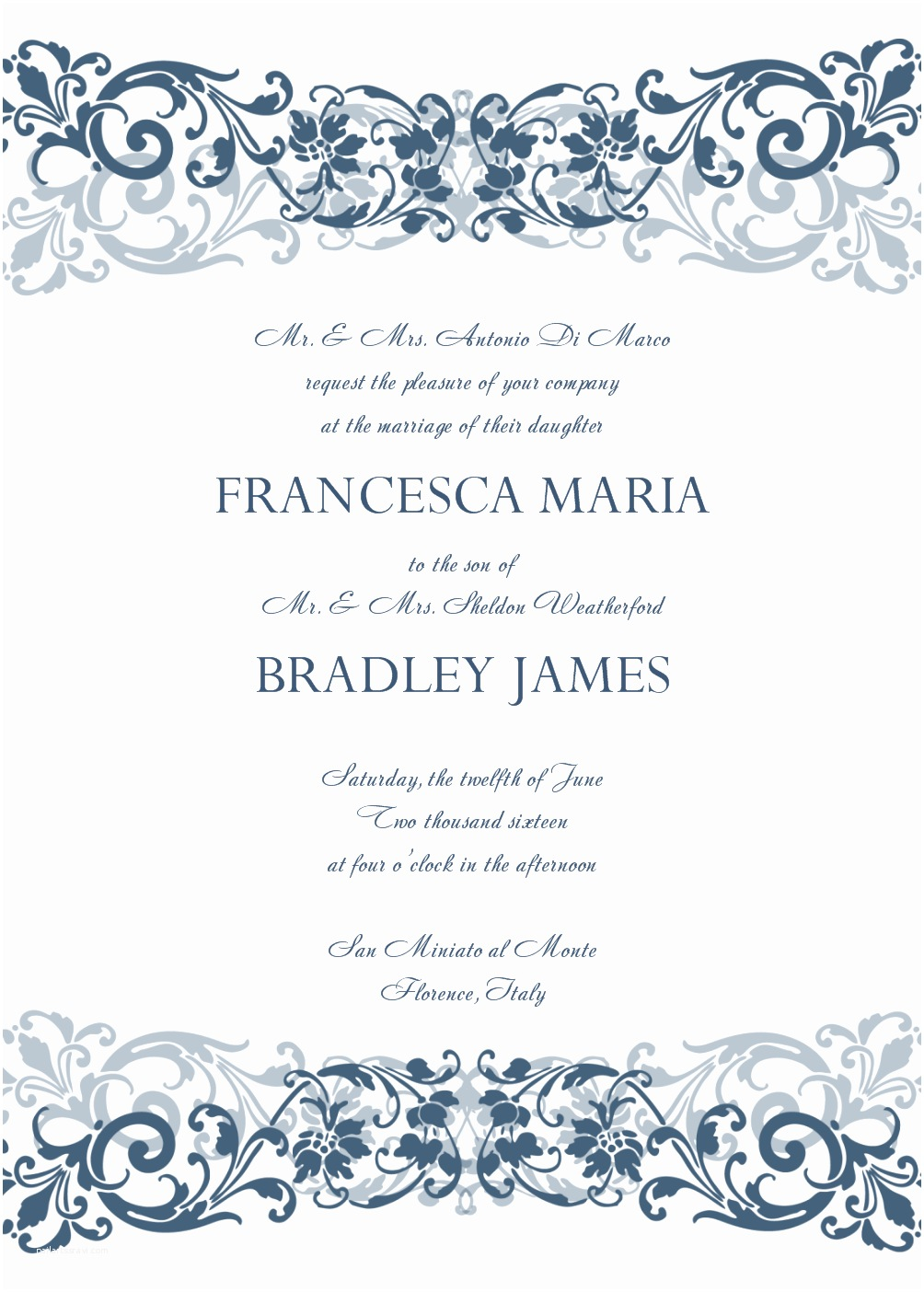 Wedding Invite Directions Template 8 Microsoft Word Wedding Invitation Templates